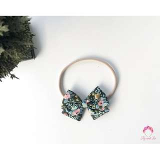 Rifle Paper Co Les Fleur Menagerie Rosa Hunter Green Crossover bow For newborn, girls bow, baby headband