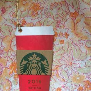Starbucks card red die cut card 2016 pin intact