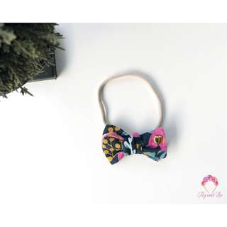 "3"" Rifle Paper Co Les Fleur Menagerie Navy hand-tied bow tie bow headband, girls headband, baby headband"