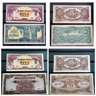 4 UNC 1940s Jap Occ Notes