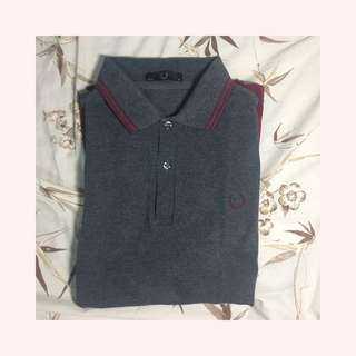 Fred Perry Made In England Maroon and Gray Polo Shirt