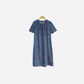 藍紅印花圓領洋裝 no.489