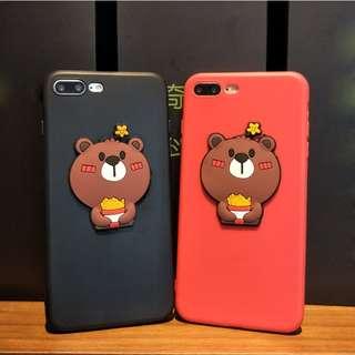 *手機殼IPhone6/7/8/plus/X : 情侶款立體小熊全包邊膠軟殼