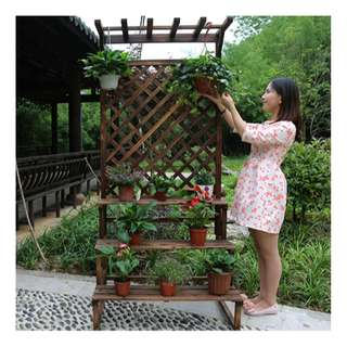 Carbonized Cedar-wood Plants Stand - Wooden Colour 60cm x 198cm