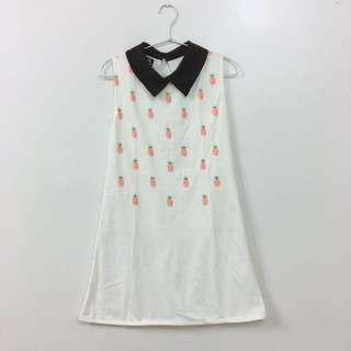 日系原宿無袖立領鳳梨插圖長版洋裝