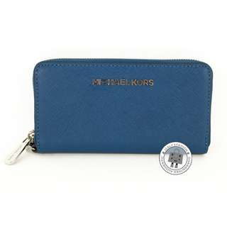 (NEW) Michael Kors 32T4STVE3L JET SET TRAVEL CALFSKIN LARGE LONG WALLET SHW, STEEL BLUE / 926 全新 銀包 藍色