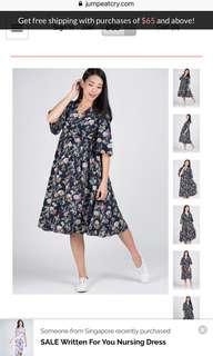 Jump eat cry floral nursing dress