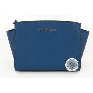 (NEW) Michael Kors 30T3SLMM2L SELMA CALFSKIN MEDIUM MESSENGER BAG SHW, STEEL BLUE / 926 全新 手袋 藍色
