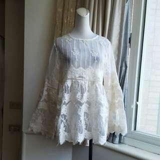 正韓 超美蕾絲紗網透視罩衫