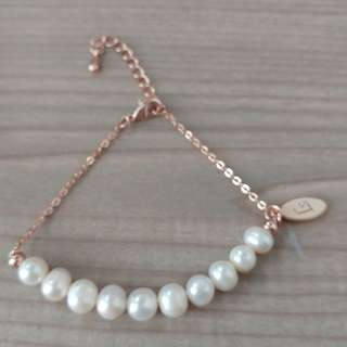 Mabelle 養珠 0.005份鑽石 手鏈