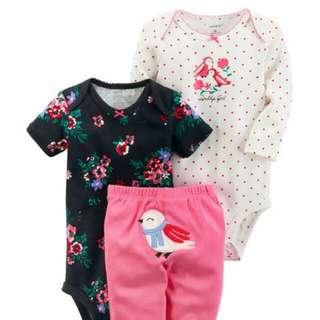 Brand New Instock Carter's 3 Pc Little Character Set Bodysuit Onesie Romper Pants Set Girls