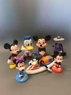 1970年代 Disney 正版古董米奇+美妮+高飛+唐老鴨 Made in Hongkong/Korea $480/ 全7隻出售 8-12cm高 $380