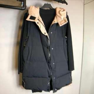 長版黑色舖棉背心外套