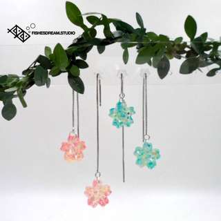 [Fishes' Dream] 手作耳環 春日 櫻花 長線款 Handmade Earrings - Stringing Series - Cherry Blossom Collection #01