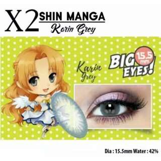 Softlens X2 Shin Manga Karin Grey Normal Dan Minus