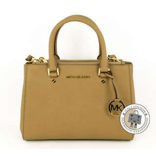 (NEW) Michael Kors 30F4GSUS5L SUTTON SMALL SATCHEL CALFSKIN SHOULDER BAG GHW, DARK KHAKI / 185 全新 手袋 金扣