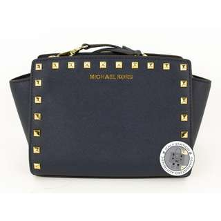 (NEW) Michael Kors 30T3GSMM2L LUGGAHE SELMA STUD CALFSKIN MEDIUM MESSENGER BAG GHW, NAVY / 406 全新 手袋 藍色 金扣