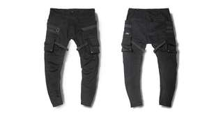 多口袋工裝機能彎刀褲