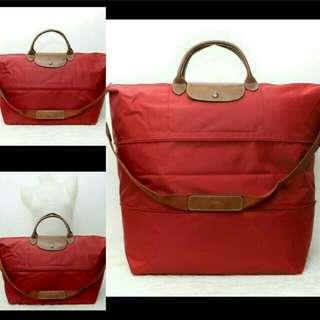 FREE SHIP Longchamp Le Pliage Expandable Travelling Bag red