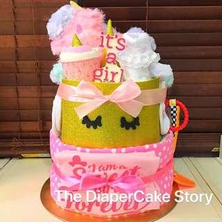 Pink and gold Unicorn theme Diapercake