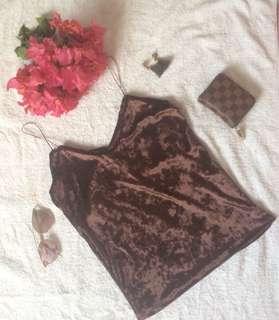 Velvet sleeve less top