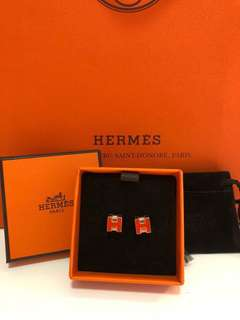 Hermes cageH earrings orange with rose gold