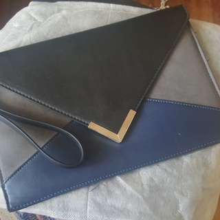 Envelope color block clutch