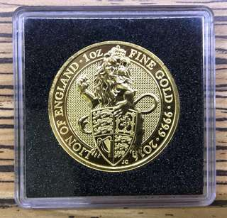 Queen Beast 1 oz gold coin with case