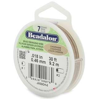 Beadalon 7-Strand Bead Stringing Wire, 0.018-Inch, Champagne, 30-Feet