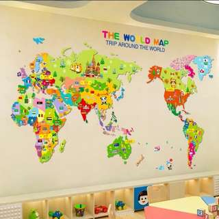 Cartoon Animal world map wall sticker Home decor ( Raw sticker 70x50cm with National flag )