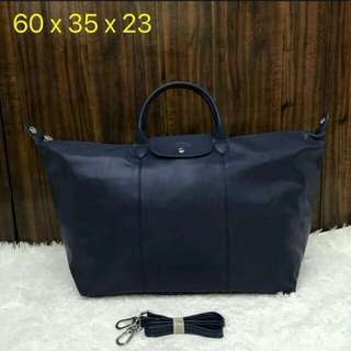 FREE SHIP Longchamp cuir large travelling bag navy blue
