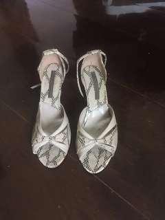 Snake skin wedge heels