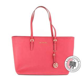 (NEW) Michael Kors 30T5GTVT2L JET SET TRAVEL CALFSKIN TOTE BAG GHW, CHERRY / 848 全新 手袋 粉紅色