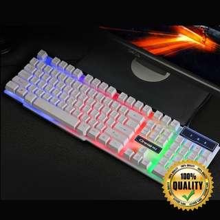 🚚 Semi-Mech Rainbow Backlit White Gaming Keyboard
