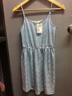 H&M dress powder blue with tag