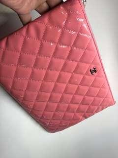 Chanel Clutch 中號漆皮粉紅色 全新購自巴黎28x20