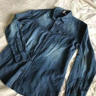 Penshoppe Denim Button Down Polo Shirt
