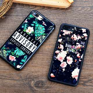 *手機殼IPhone6/7/8/plus(沒有X) : 復古花紋鏡面全包黑邊軟殼