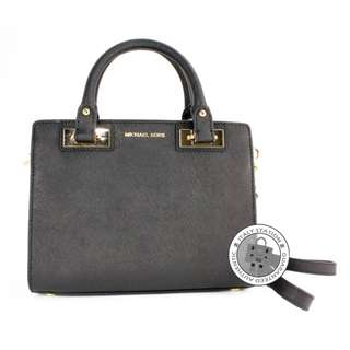 (NEW) Michael Kors 30H5GQNS1L QUINN SMALL SAFFIANO LEATHER SATCHEL CALFSKIN SHOULDER BAG GHW, BLACK / 001 全新 手袋 黑色