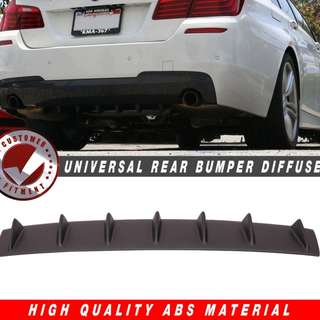 "Rear Bumper Lip Diffuser Universal Black ABS 33""x 6"" Air Dam Chin 7 Fin"