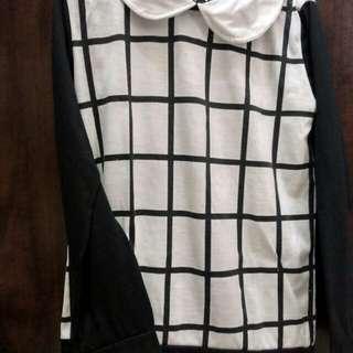 Baju kotak2 putih hitam kerah
