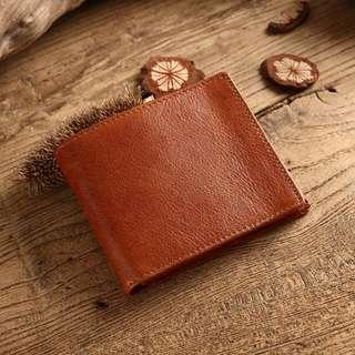碎金手工牛皮短夾 錢包