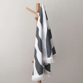[IN-STOCK] White-Grey Round Beach Towel