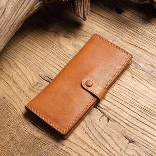 真皮牛革長夾 卡包 強大卡包 可放百元鈔 釦式薄型便攜長夾