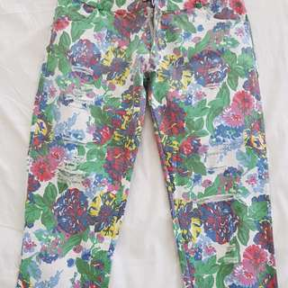 Floral Distressed Cropped Pants