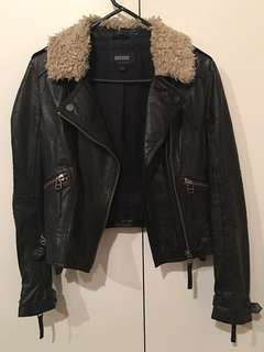 Oxford 100% leather shearling jacket size 8