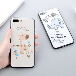 *手機殼IPhone6/7/8/plus(沒有X) : 可愛動物彩繪全包黑邊軟殼