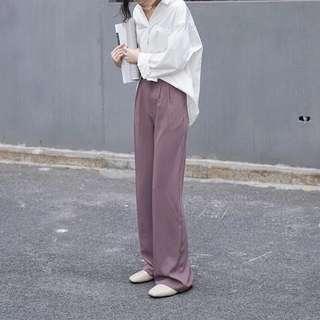 超長腿氣勢十足復古紫色長褲
