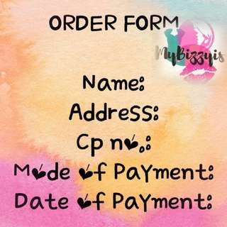 Order Form and XEND rates