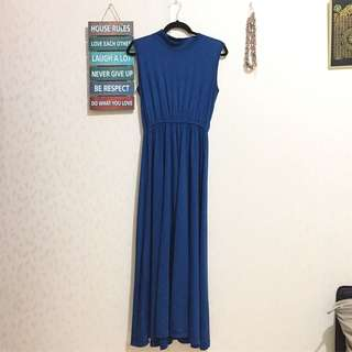 LONGDRESS BIRU BUNTUNG